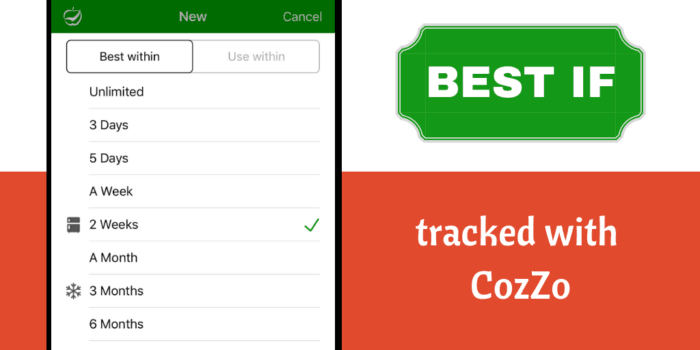 Best If … tracked with CozZo. Update 1.5 brings true product condition reporting to your home.