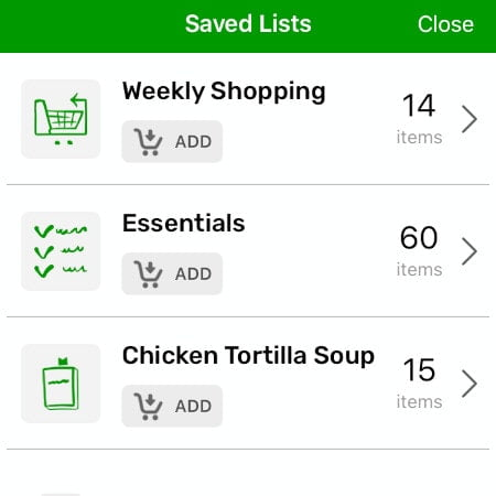 Saved Shopping Lists